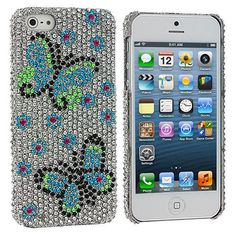 Blue Green Butterfly Bling Rhinestone Case Cover for Apple iPhone 5 / 5S