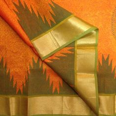Buy SCP3500001-VARNAM Handwoven Block printed silkcotton-Orange with green, 750g online - Handwoven Kanchivarams,Soft Silks, Silk Cottons and Tussars!