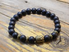 Matte black and bronze beaded Buddha stretchy bracelet made to order yoga bracelet