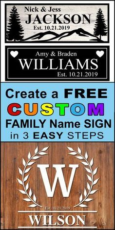 Family Name Signs. Create free printable Family Established Signs in seconds using online generator. Great for wedding and anniversary gifts, bridal shower presents, and wood home wall decor. Cricut, Silhouette, and DIY woodworking projects and crafts. Last Name Wood Sign, Family Name Signs, Last Name Signs, Free Stencil Maker, Free Stencils, Cricut Explore Air, Cricut Vinyl, Bridal Shower Presents, Manualidades