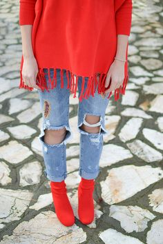 Santa Style In / Red Sock Booties / by Tamara Bellis Fashion and Lifestyle Blog