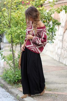 black maxi skirt and tribal sweater. I have SO MANY great maxis, I'm always looking for a way to transition them into fall!