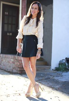 Tie neck blouse blogger style leather skirt fall outfit neutrals gold