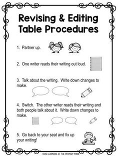 Procedures for having your students use a revising and editing table for peer conferring