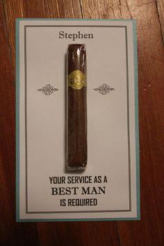 Will You Be My Groomsman Best Man Usher Junior Jr groomsman groomsmen Cigar Card with name 1 Color on Etsy, $2.75: