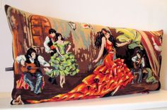 Huge Unique Vintage Needlepoint Tapestry Flamenco by Retrocollects, £55.00