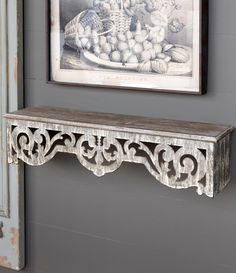 The look of our Wood And Metal Filagree Wall Shelf will enhance your farmhouse decor. Visit Antique Farmhouse today for more wall shelves and wall art! Shabby Chic Shelves, Rustic Wall Shelves, Wall Shelf Decor, Rustic Walls, Shabby Chic Decor, Mantel Shelf, Fireplace Mantel, Farmhouse Bedroom Decor, Farmhouse Style Decorating