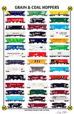 "An 11""x17"" poster with some of Andy Fletcher's hand drawings of railroad hoppers."
