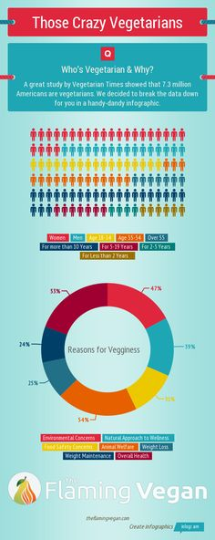 7.3 Million Americans are vegetarians. But who are they? We decided to break that data down for you, in a handy dandy info-graphic. Love, The Flaming Vegan
