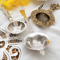 Silver Tea Strainers - A necessity when brewing loose-leaf tea, a gleaming silver strainer also adds a touch of elegance to the tea table. Tea Strainer, Tea Infuser, Cuppa Tea, Tea Art, My Cup Of Tea, Tea Service, Loose Leaf Tea, Tea Accessories, High Tea