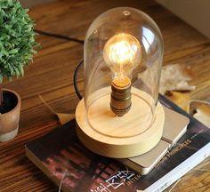 46.00$  Buy here - http://ali7ne.shopchina.info/1/go.php?t=32813336771 - Loft Industrial vintage nature glass  wood base table lamp simpe modern reading desk lamp for study bedroom living room workroom  #buyonline