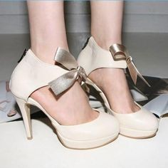 Elegant Stylish Solid Color Bowknot High-heeled Shoes