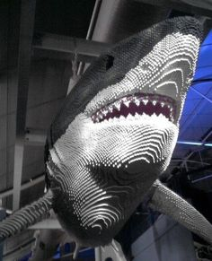The awesomeness of this lifesize shark made out of Legos cannot be explained. Lego Model of Shark @ Sydney Aquarium. Lego Design, Lego Disney, Comic Cat, Lego Minecraft, Lego Lego, Chat Origami, Lego Hacks, Modele Lego, Lego Sculptures
