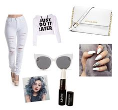 """""""White"""" by queenc-i ❤ liked on Polyvore featuring Blanc & Eclare, MICHAEL Michael Kors and NYX"""