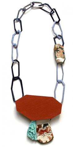 Danni Schwaag  Necklace: Octagon 2013  Enamel on copper, wood, acrylic paint, artificial material, silver