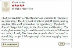"""Check out the review of """"The Runner"""" by Alan at Goodreads. If you want to know more about this book visit http://wjdaviesauthor.com/books/  #goodreads #bookreviews #amazonbooks"""
