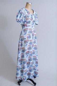 dc1d44c12581 70s Novelty Print Prairie Dress Children Playing Empire Waist Butterfly  Bibbed Collar School Girl Ma