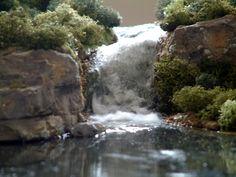 Water scenery (Plaster, resin, model scenery on board) Close
