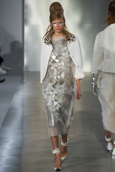 Paris Fashion Week 2015, Maison Margiela Ready to Wear Collection, Silver Textured Dress with Sheer Material // Water flowing over rocks