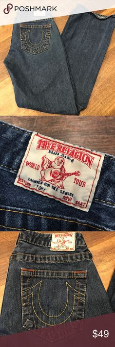 """True Religion Jeans True Religion boot cut jeans. 31"""" inseam and cute patch pocket front detail. Great condition! Non-smoking home. True Religion Jeans Boot Cut"""