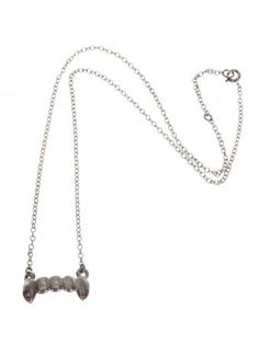 Mini Vampire Fangs Oxidized Silver & Ruby Necklace by Suicide Blonde