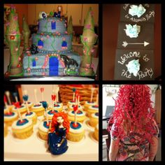 Brave and Princess Merida Birthday Party ideas cake and cupcakes