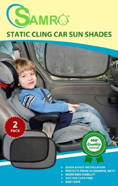 "#1 Best Quality Car Sun Shades Exclusive (Pack of 2) Size 19""x12"" Static Cling Sun Shield Blocking Nearly 99% of Harmful Uv Rays - Protecting Your Kids & Pets From Sunlight, Order Risk Free!"
