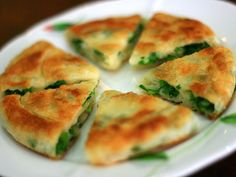 Chinese Green Onion Pancake - it's kinda like a thick version of quesadillas.  super yummy.