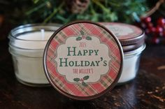 Set of 12 - 4 oz. Holiday Favor Candle//Christmas Candle Gift//Personalized Holiday Gift//Christmas Party Favor//Merry Little Christmas//
