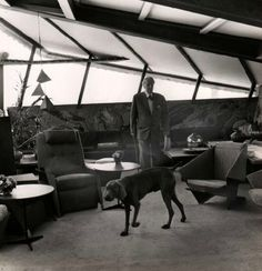 Frank Lloyd Wright, in his house at Taliesin West where he lived during the winter months with his family and 65 students, Arizona, 1956 Falling Water Frank Lloyd Wright, Arizona, Imperial Hotel, Usonian, Winter House, Cool Pets, Amazing Architecture, Photos, Photographs