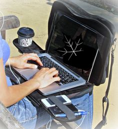 Top part of TaboLap bag keeps the screen up for privacy and easier access to all pockets. Create your own table anywhere.