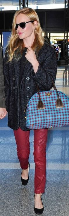 Urban Street Ready Style| Serafini Amelia| Prada| Kate Bosworth's red pants,  + gray paris hilton jacket. blue plaid purse that she wore at LAX airport? - OutfitID