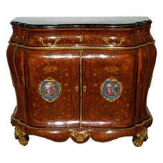 Antique 19th C. French Inlaid Bombay Cabinet with beautifully painted Porcelain Plaques, detailed floral inlay, bronze trim and hardware, and verde green marble top.