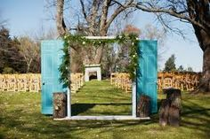 free standing door for grand entrance at outdoor wedding