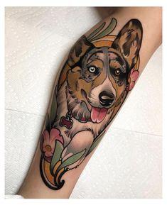 Dog Tattoos, Animal Tattoos, Body Art Tattoos, Tatoos, Neo Tattoo, Tatoo Art, Fox Tattoo Design, Tattoo Designs, Traditional Tattoo Dog