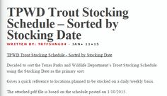 Hi Readers! I was working on day job related things – specifically, a spreadsheet deliverable. Knocked it out fairly quickly, and then went back to more important things… like fishing! While looking over the Texas Parks and Wildlife Departments Trout Stocking Schedule dated 1/10/2015, I thought it would be nice to sort the schedule using …
