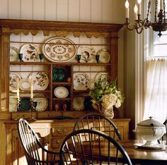 Welsh cupboard, lovely display of dishware. Cullman & Kravis: Second Home on Nantucket Sound