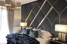 Abiding by the rules of Art Deco design the Legona headboard brings style, flair and a delicious sense of nostalgia to the interiors. Real metal elements and solid show wood blend superfluously with hand tailored segments. Available in brass or steel with timber surround in colours of the collection. Dimensions (cm) W D H Single 98 9 180 Double 142 9 180 King 157 9 200 Superking 187 9 200 Modern Luxury Bedroom, Luxury Bedroom Design, Master Bedroom Interior, Modern Master Bedroom, Modern Bedroom Decor, Room Design Bedroom, Bedroom Furniture Design, Luxurious Bedrooms, Luxury Bedrooms