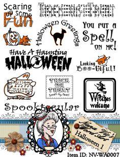 Halloween 1 Word Art Sentiments Digital Digi Instant Download ID:NV-WA0007 By Nana Vic