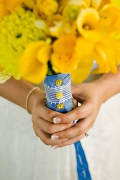 Wedding Ring Bearer Pillow Soft Yellow Peony On Royal
