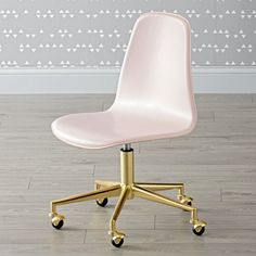 Shop Class Act Pink & Gold Desk Chair.  Here's a smart idea.  Our leather desk chair has rolling wheels and a padded, adjustable seat that swivels 360 degrees. #DeskChair