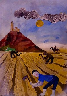 «El sol crema a migdia», Jordi Jové, 1987. Gouache, pintura plàstica, ceres i vernís sobre paper, 70 x 59,6 cm MAMLL 0943 | © Jordi Jové