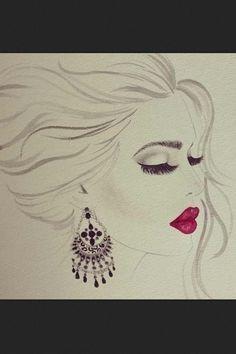 Beautiful drawing of makeup look!