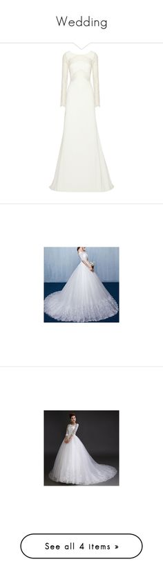 """""""Wedding"""" by follow-me-follow-back ❤ liked on Polyvore featuring dresses, gowns, wedding, wedding dress, vestidos, lace inset dress, lace panel dress, bridal dresses, lace insert dress and drapey dress"""