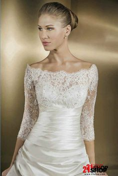 Off-The-Shoulder--Ball-Gown--Attractive-Satin-Wedding-Dress-