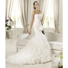 Attractive Organza Trumpet/Mermaid Strapless Spring Short Sleeve Ruching Empire Ivory Wedding Dresses