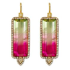 Jemma Wynne watermelon tourmaline diamond earrings.