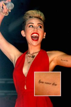 A Guide To Miley Cyrus' Ever Growing Tattoo Collection And What They All Mean! 21 Years Old, Miley Cyrus, Tatoos, Collection, Fashion, Moda, Fashion Styles, Fashion Illustrations