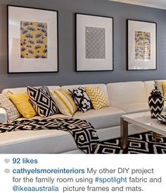 Another DIY fabric and frame idea. Living Room Colors, Living Room Grey, Living Room Modern, Home Living Room, Living Room Designs, Living Room Decor, Home Decor Furniture, Decoration, Bedroom