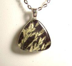 Real Pressed Grass Black Glass Necklace by GardenGemsJewelry